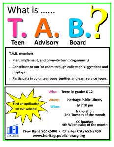 T.A.B. Meeting - Charles City @ Heritage Public Library | Charles City | Virginia | United States