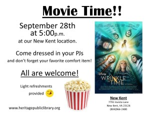 Movie Night!   A Wrinkle in Time @ Heritage Public Library | New Kent | Virginia | United States