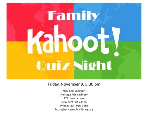 Family Kahoot!  Quiz Night. @ Heritage Public Library | New Kent | Virginia | United States