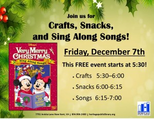 Crafts, Snacks, and Sing Along Songs! @ Heritage Public Library | New Kent | Virginia | United States