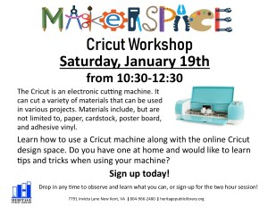MakerSpace Workshop Series - Cricut Machine @ Heritage Public Library | New Kent | Virginia | United States