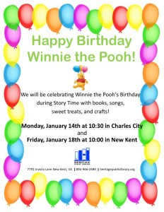 Story Time - Happy Birthday Winnie The Pooh! @ Heritage Public Library | Charles City | Virginia | United States