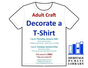 Adult Craft - Decorate a T-Shirt @ Heritage Public Library | Charles City | Virginia | United States
