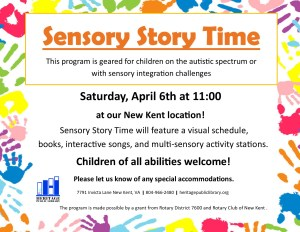 Sensory Story Time @ Heritage Public Library | New Kent | Virginia | United States