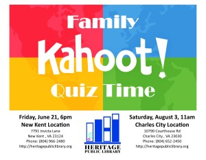 Kahoot!  Family Game Night @ Heritage Public Library | New Kent | Virginia | United States