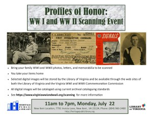 Profiles of Honor WWI & WWII Scanning Program @ Heritage Public Library | New Kent | Virginia | United States