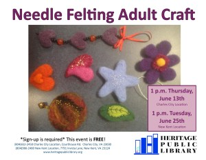 Adult Craft - Needle Felting @ Heritage Public Library | New Kent | Virginia | United States