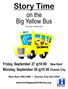 Story Time on the Big Yellow Bus @ Heritage Public LIbrary | New Kent | Virginia | United States