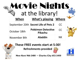 Movie Nights at the Library!   Pokemon Detective Pikachu @ Heritage Public LIbrary | Charles City | Virginia | United States