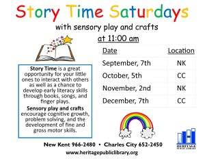 Story Time with Sensory Play @ Heritage Public LIbrary | Charles City | Virginia | United States