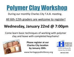 Polymer Clay Workshop @ Heritage Public Library | Charles City | Virginia | United States