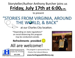 Stories from Virginia, Around the World & Back @ Heritage Public Library | Charles City | Virginia | United States