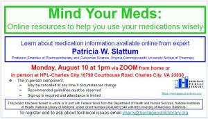 Mind Your Meds: Online Resources to Help You Use Your Medications Wisely @ Heritage Public Library | Charles City | Virginia | United States