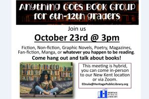 Anything Goes Book Group for 6th-12th graders - NK @ Heritage Public Library | New Kent | Virginia | United States