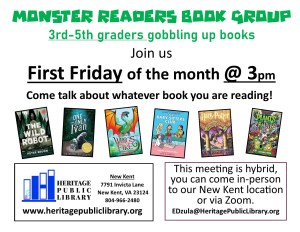 Monster Readers: 3rd-5th Grade Book Club @ Heritage Public Library | New Kent | Virginia | United States