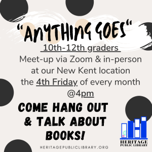 """""""Anything Goes"""" Book Club - 10th-12th Grades @ Heritage Public Library 