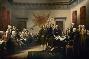 John Trumbull's Declaration of Independence, showing the five-man committee in charge of drafting the United States Declaration of Independence in 1776 as it presents its work to the Second Continental Congress in Philadelphia.