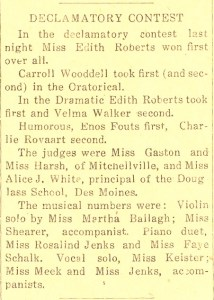 Edith Roberts- Declamatory Contest. Prairie City News, Prairie City, Jasper Co., Iowa, shortly after 2 Feb 1917. (from a clipping without date)