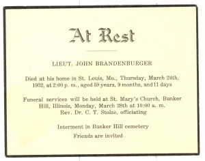 Lt. John Brandenburger- Funeral Card
