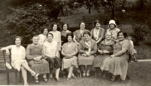 A group of Broidas, photo taken in Pittsburgh about 1929-1930.Front row seated. First three ladies were probably Rogow family. (not of the  John Broida tree.) Fourth person unknown. Fifth person is Aunt Lil (Bildhauer) Broida, wife of Louis Broida, Sixth - Aunt (Mumi) Feige - wife to John Broida's brother-unknown which brother, as no record of that name. Seventh - Lucy - David Broida's wife.   Back rwo: Standing - First person - unidentified, Second person, Gertrude Cooper, Third person, Bessie Broida, Fannie Broida (Joseph Broida's wife), Fourth and Fifth person unidentified. (The fourth and fifth person were not from the John Broida family.)