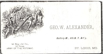 George H. ALEXANDER- Army of the Potomoc Business Card