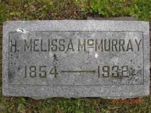 Headstone of Hannah Melissa (Benjamin) McMurray in Newton Union Cemetery, Newton, Jasper County, Iowa.
