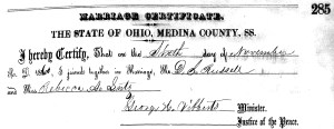 David S. Russell and Rebecca Ann Lutz Marriage Record