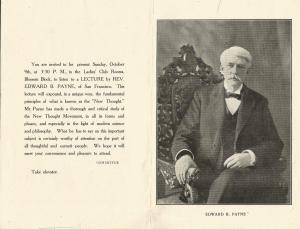 Edward B. Payne lecture advertisement. Possibly c1920, October 9.