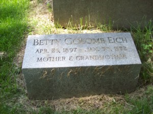 Betty (GOLOMB) EICH- Headstone, Bnai Israel Cemetery, Pittsburgh PA. With kind permission of FAG photographer.