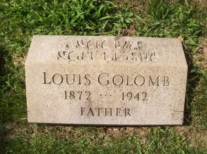 Louis GOLOMB- Headstone, B'nai Israel Cemetery, Pittsburgh PA. With kind permission of FAG photographer.