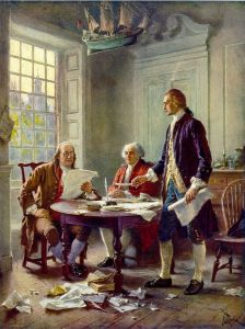 Benjamin Franklin, John Adams, and Thomas Jefferson working on the Declaration of Independence, by Jean Leon Gerome Ferris, 1900.