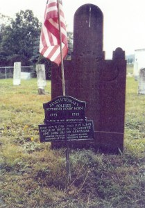 Tombstone of Heinrich Horn, Horn United Methodist Church Cemetery, Alum Bank, Bedford County, Pennsylvania.