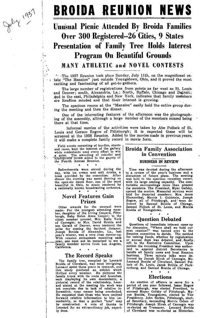 1938 Broida Reunion News, page 1