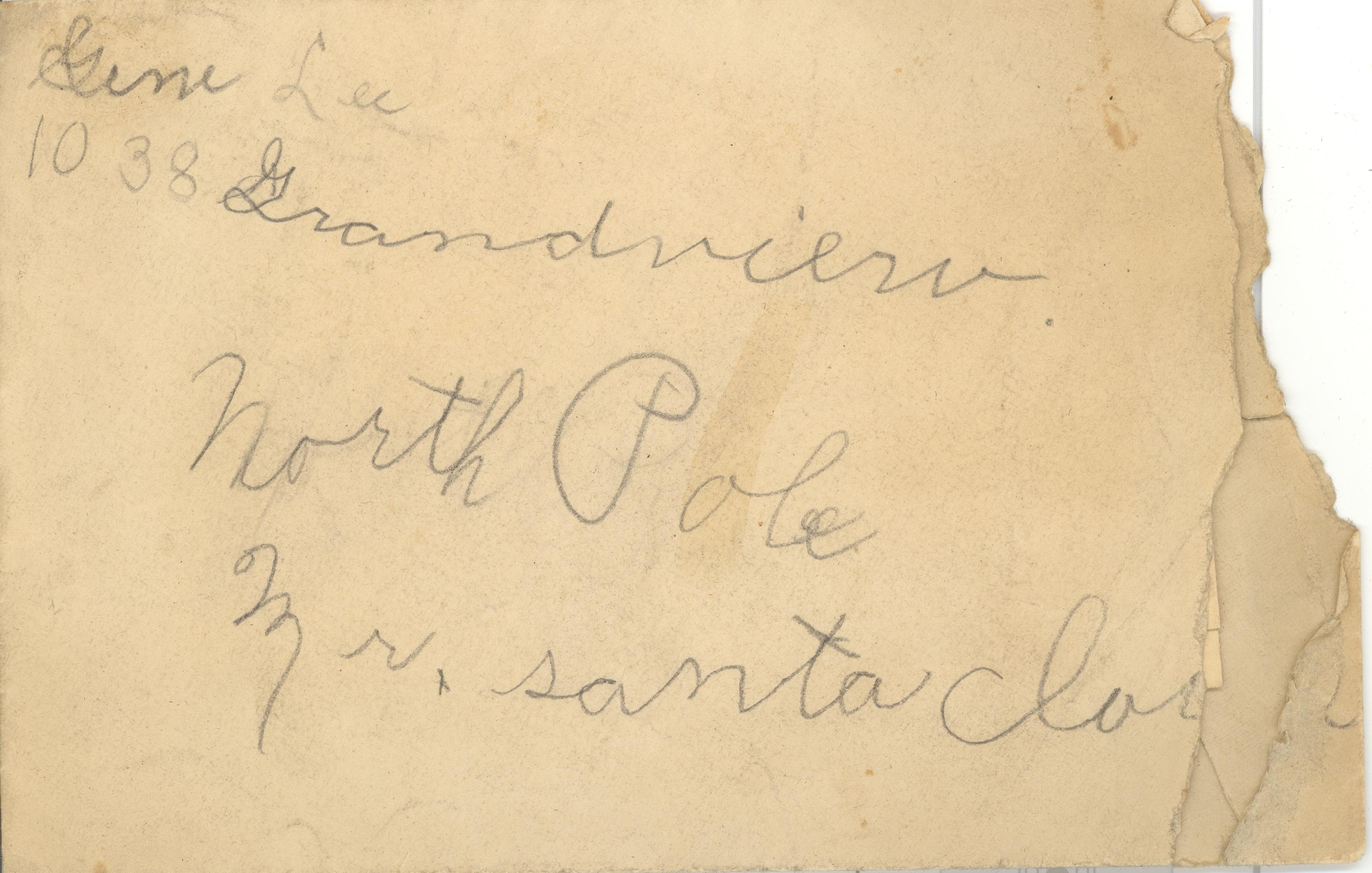 Samuel j lee heritage ramblings envelope to santa from lloyd eugene gene lee spiritdancerdesigns Images