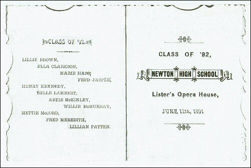 12 June 1892- Will McMurray's Graduation program from Newton High School, Newton, Iowa.