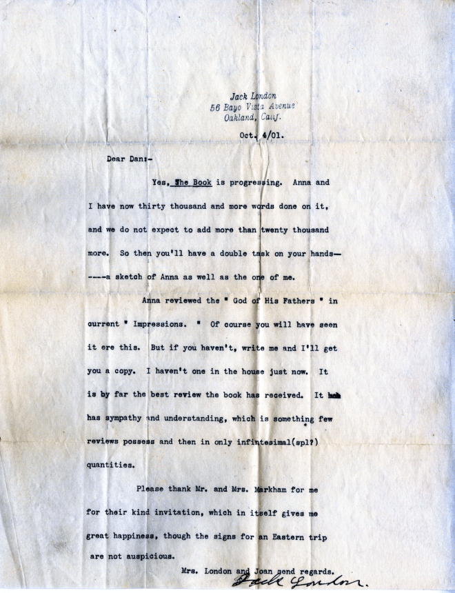"Jack London letter to Dan [Murphy?] concerning the ""Kempton-Wace Letters."" Published with permission of the Edwin Markham Archive, Horrmann Library, Wagner College."