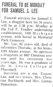 Samuel J. Lee Obituary, 16 Sep 1964. Page 8A, probably from a St. Louis newspaper.