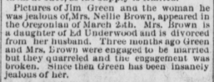"Pictures of Jim Green and ...Nellie Brown…"" The Hood River Glacier, March 29, 1901, Vol. 12, No. 45, Page 3, Column 3. Public domain."