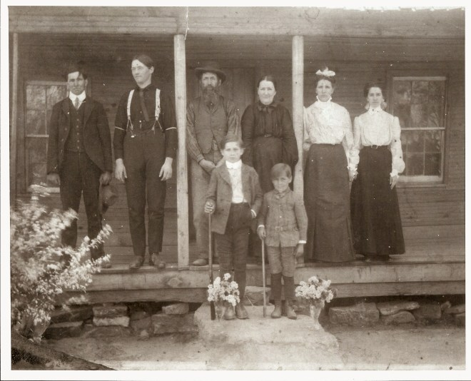c1900 The Goodson's at their home. From left, in back: William Goodson, Jodie Goodson, Joel Abner Goodson, Emily Pridy Goodson, Vina Goodson Sitze, Effie Goodson Sitze. (In front) Henry Goodson, Gilbert Goodson. (Not in photo: John, Nellie, Corie, Rachel.)