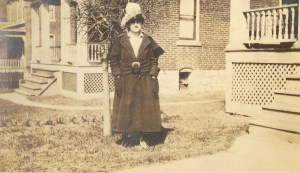 April 1918, outside 1038 Grand View Place, St. Louis, Missouri. Possibly Dora Russell Aiken, who lived with her daughter's family.