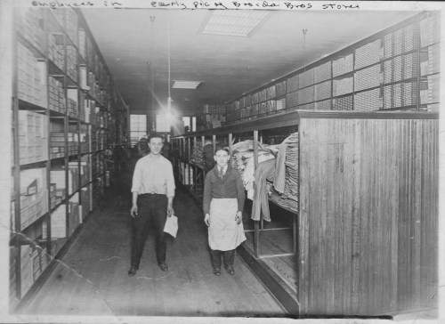 Employees in an early picture of the Broida Brothers Dry Goods.