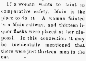Fainting and liquor flasks. Marion Daily Star 20 Feb 1878, Vol. II, No. 251, Page 1. With permission of MDS for non-profit use only.