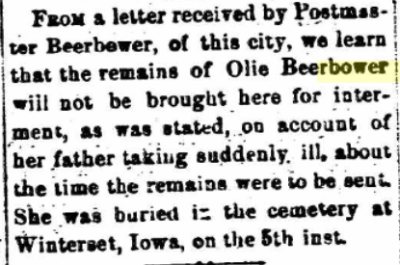 Olive Beerbower death notice. Marion [Ohio] Daily Star, March 5, 1879, Volume II, Number 127, (Whole Number 437), Page 4. Posted with permission.