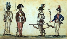 American soldiers at the siege of Yorktown, by Jean-Baptiste-Antoine DeVerger, watercolor, 1781. The African American soldier is supposedly from the first Rhode Island Regiment. Wikipedia, Public Domain.