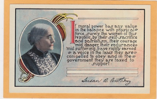 Women's Suffrage Postcard set, 1 of 3- Susan B. Anthony. Anna Howard Shaw and Frances Willard are the other two. Issued c1890-1910?