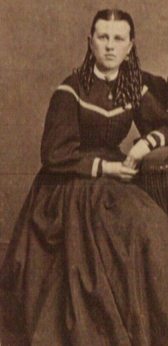 "Mary ""Emma"" Beerbower, daughter of Eleazer John Beerbower and Matilda Louise McKelvey Beerbower, c late 1860s? Courtesy of Marion County [Ohio] Historical Society. (Click to enlarge.)"