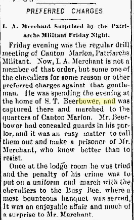 "Samuel T. BEERBOWER-""Preferred Charges"" in The Marion Daily Star,"" 02 Dec 1893"