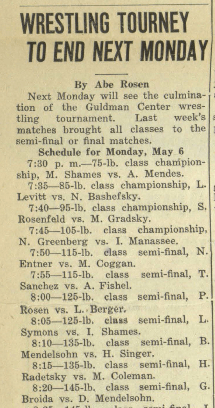 "Gilbert Broida in Wrestling Tourney, May, 1935. In ""The West End Press"", May 3, 1935, (no vol.) No. 64, page 4, column 1. digitaldu.coalliance.org"