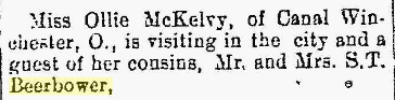 Ollie McKelvy of Canal Winchester visiting cousins in Marion, Ohio. Marion Daily Star, 04 September 1880, page 81. Posted with kind permission for non-profit use only.