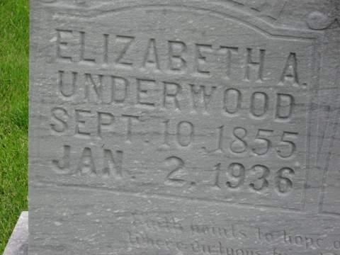 Elizabeth Adline Rickman Underwood- Headstone in Trace Creek Cemetery, Glenallen, Bollinger, Missouri- closeup.